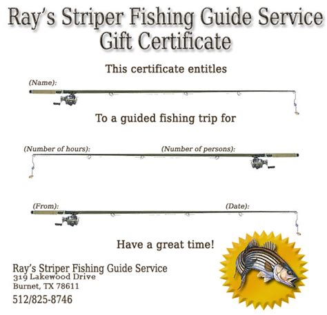 fishing gift certificate template s striper fishing guide service
