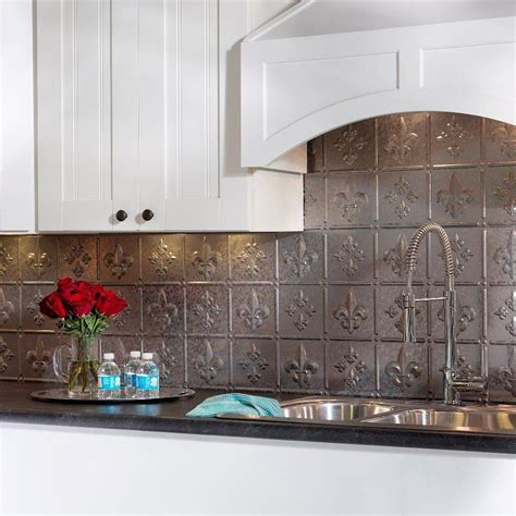 decorative backsplashes kitchens fasade 24 in x 18 in fleur de lis pvc decorative tile