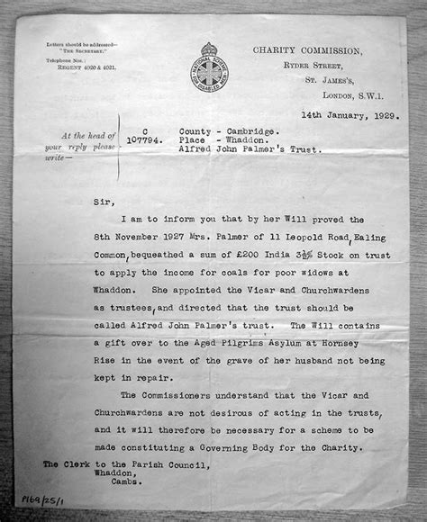charity commission letter the history of whaddon archives photos whaddon cambridgeshire