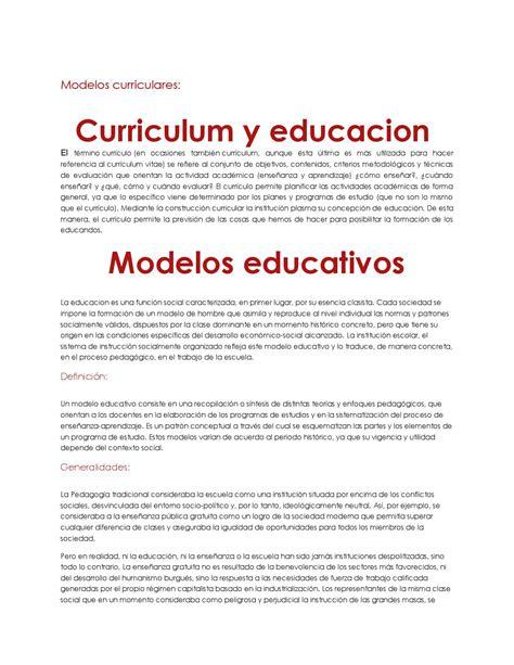 Modelos Curriculares En Educacion Modelos Curriculares By Yedid L 243 Pez Issuu