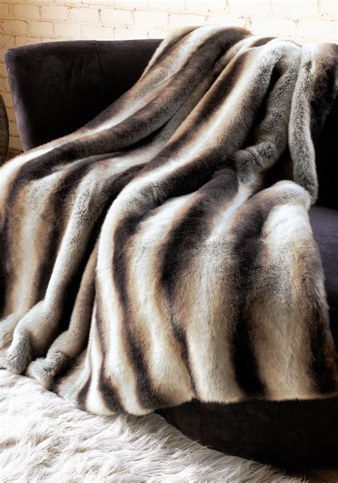 chinchilla faux fur bed throw kessler living hotel store