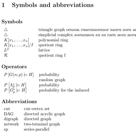 abbreviation for section spacing formal looking symbols operators and