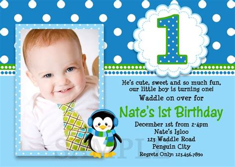 baby boy birthday invitation message printable birthday invitations boys penguin invites