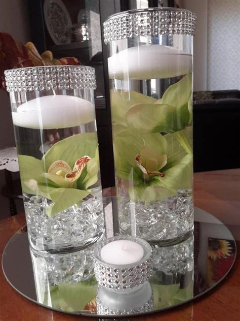 Cylinder Vases With Floating Candles And Flowers by Bling Cylinder Floral Floating Candle Centerpiece Set With