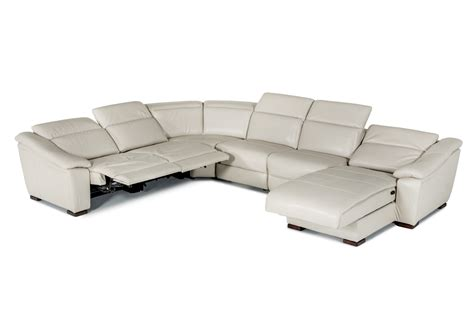 Divani Casa Jasper Modern Light Grey Leather Sectional Sofa Light Grey Leather Sofa