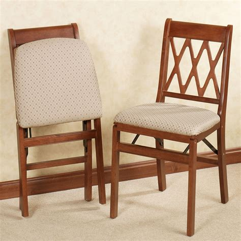 Dining Room Folding Chairs - lattice back folding chair pair