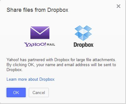 dropbox yahoo integrate dropbox with yahoo mail to send large attachments