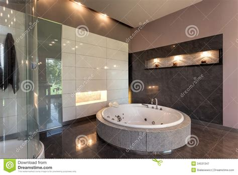 Shower Bath Mat round bath in a luxury mansion royalty free stock