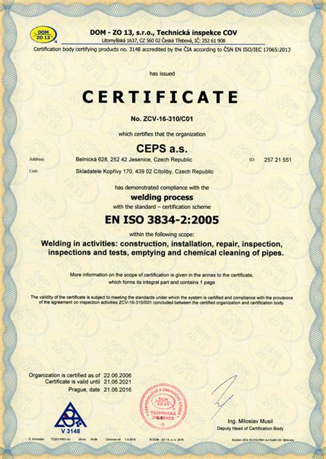 Ecu Mba Certificates by Iso 3834 2 2005 Welding Process Certificate Ceps A S