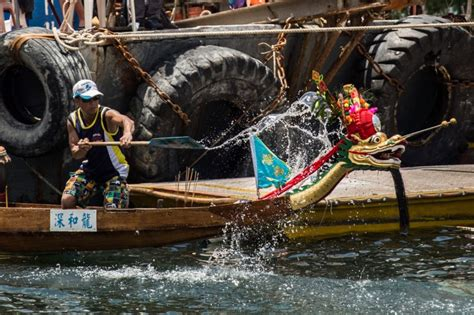bow of his boat dragon boat racing in hong kong