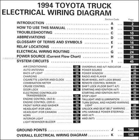 1994 toyota wiring diagram 1994 toyota truck wiring diagram manual original