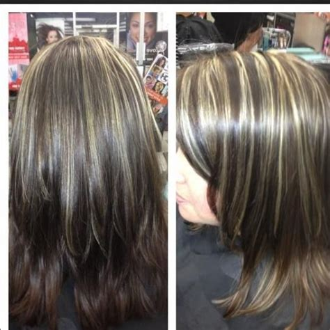 medium hairstyles with partial highlights all over color warm brown with medium chunky highlights
