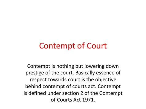 contempt of court contempt of court not bench contempt of court