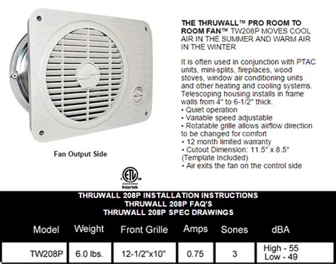 suncourt 8 in hardwired through wall fan hvacquick suncourt room to room fans