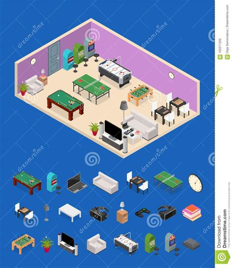 game design equipment interior game room and parts isometric view vector stock