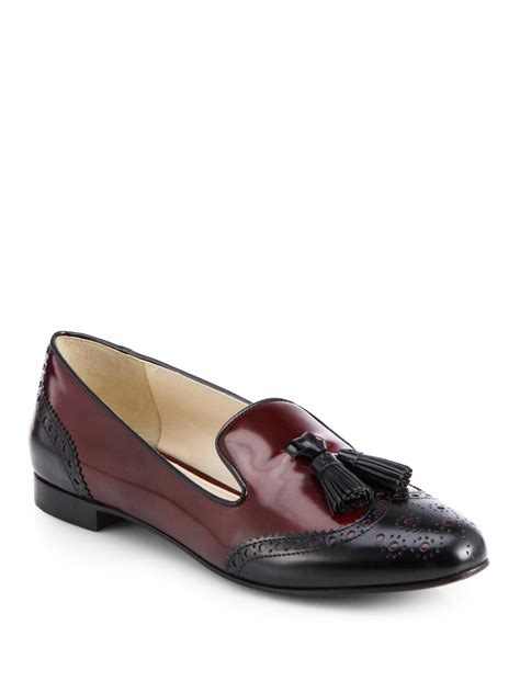 wing loafers prada bicolored leather wingtip loafers in brown black