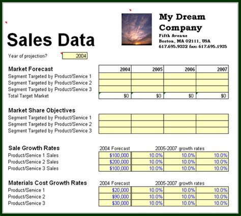 simple business plan template excel business planning sales data