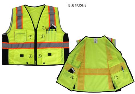 vest with pockets lime green reflective safety vest with pockets