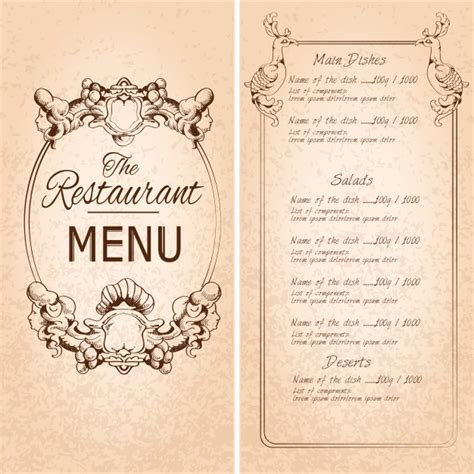 vintage menu template retro vintage restaurant menu template with frame and