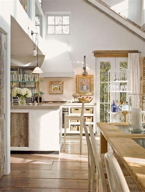 cottage kitchen  french doors exposed beam elmwood