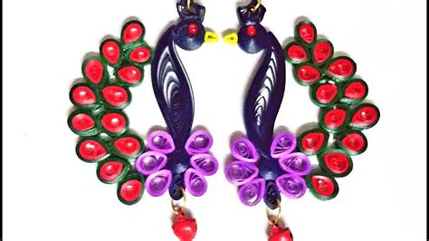 How To Make Paper Jewellery At Home - 30 how to make a quilling peacock earring