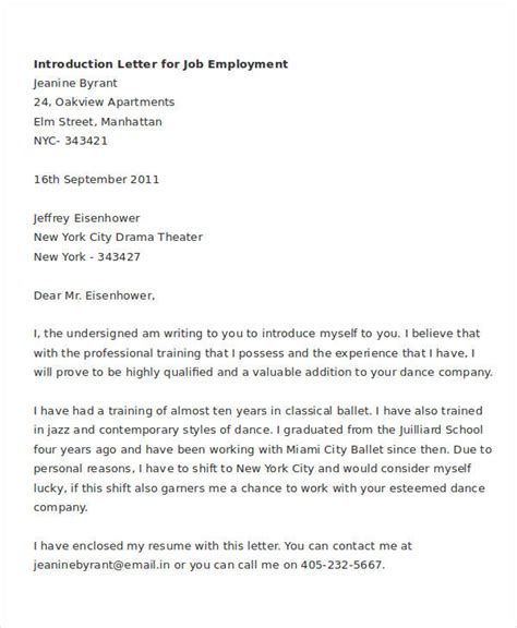 letter of introduction for employment printable introduction letter