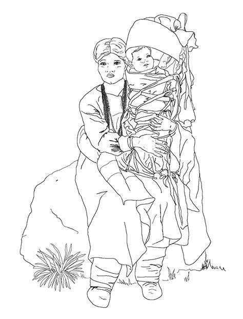 navajo woman and baby coloring page