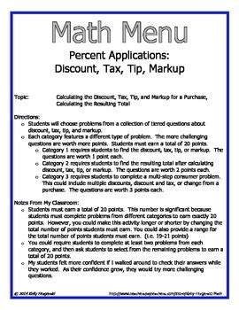 Tax Tip And Discount Word Problems Worksheet Answers