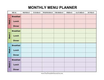 weekly meal planner excel monthly planning calendar template excel