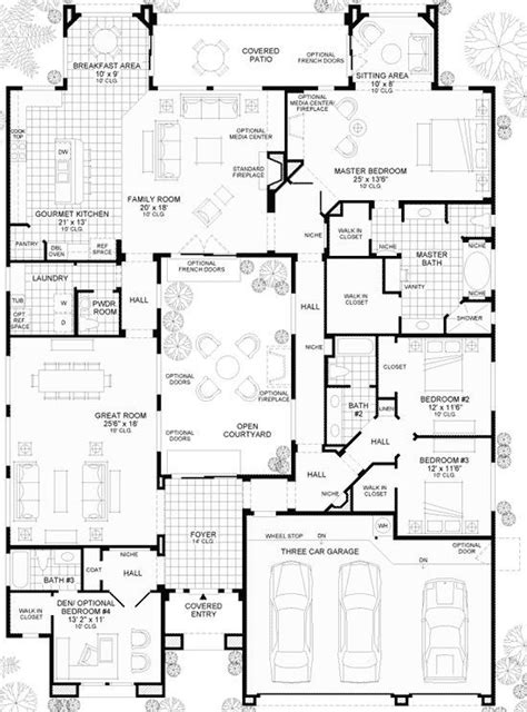 layout plan en espanol spanish style home plans with courtyards