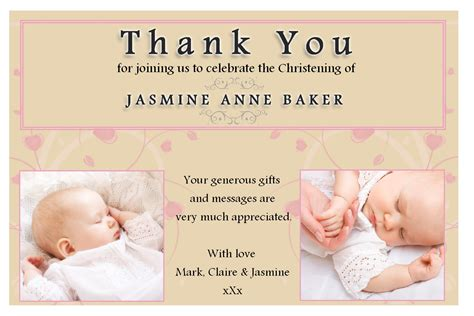 christening thank you card template free 10 personalised christening baptism thank you photo