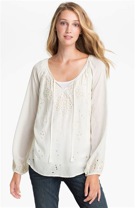Lucky Blouse By lucky brand rhiannon cutout peasant blouse in white