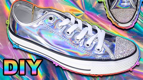 diy holographic shoes diy holographic converse holo how to apply crystals to