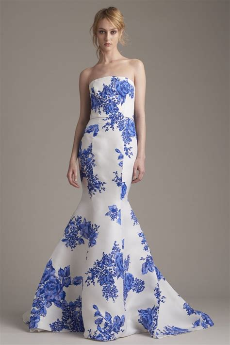 white dress with blue flowers lhuillier resort 2016 dresses gowns collection
