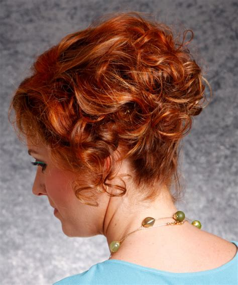 concave hairstyles curly hair short curly formal hairstyle dark red copper