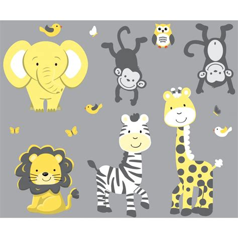 Painted Wall Murals For Kids yellow amp gray jungle nursery wall decals with zebra wall