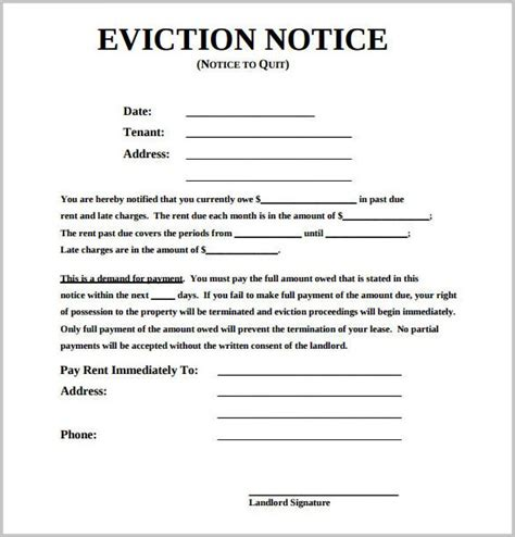 printable eviction notice ontario eviction notice form michigan form resume exles