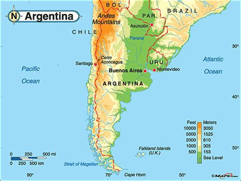 argentina physical map argentina physical map by maps from maps world