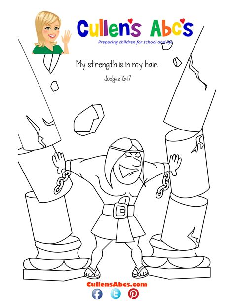 free coloring pages of samson bible story