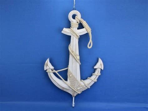 Anchor Decor by Wooden Rustic Whitewashed Anchor W Hooks 24 Quot Rope And