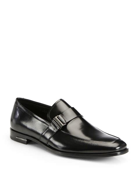 prada mens loafer prada spazzolato slip on loafers in black for lyst