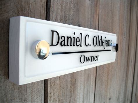 brushed metal interior office signs employee nameplates