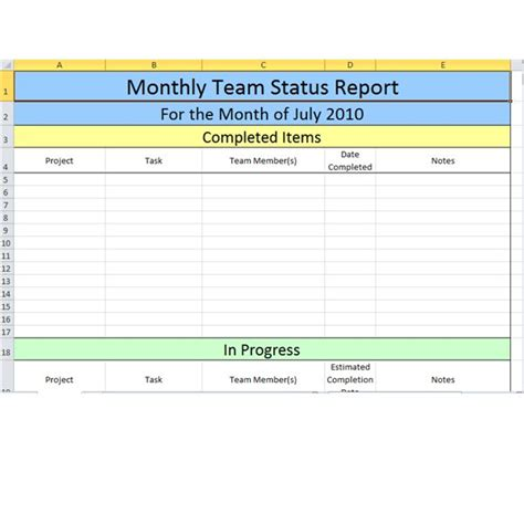 team progress report template gallery templates design ideas
