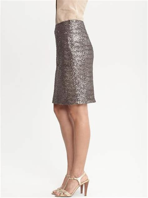 banana republic heritage silver sequin pencil skirt in