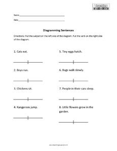 diagramming subjects and verbs sentence diagramming worksheets teaching squared