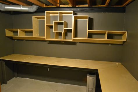 Plywood Corner Desk Bryan S Site Basement Office Shelf