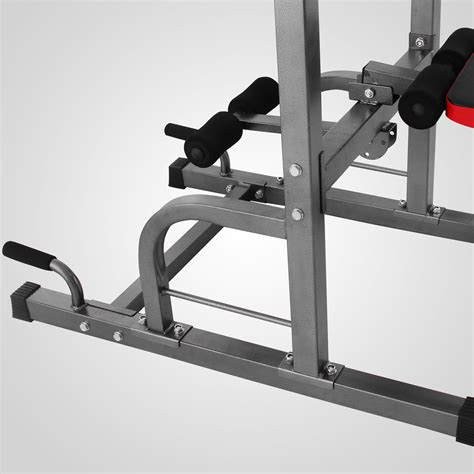 pro power sit up bench power tower dip station with bench bar strength multi
