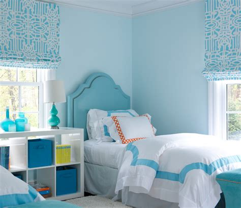 light blue girl bedrooms blue girls bedroom with turquoise nailhead headboards and
