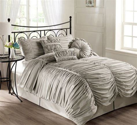 gray king size comforter com chezmoi collection 7 piece chic ruched silver
