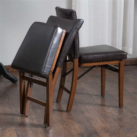 Dining Set With Leather Chairs Rosalynn Brown Leather Folding Dining Chairs Set Of 2 Great Deal Furniture